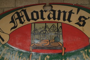 The bucolic sausage arrangement on the sign symbolizes the Morant's lifestyle