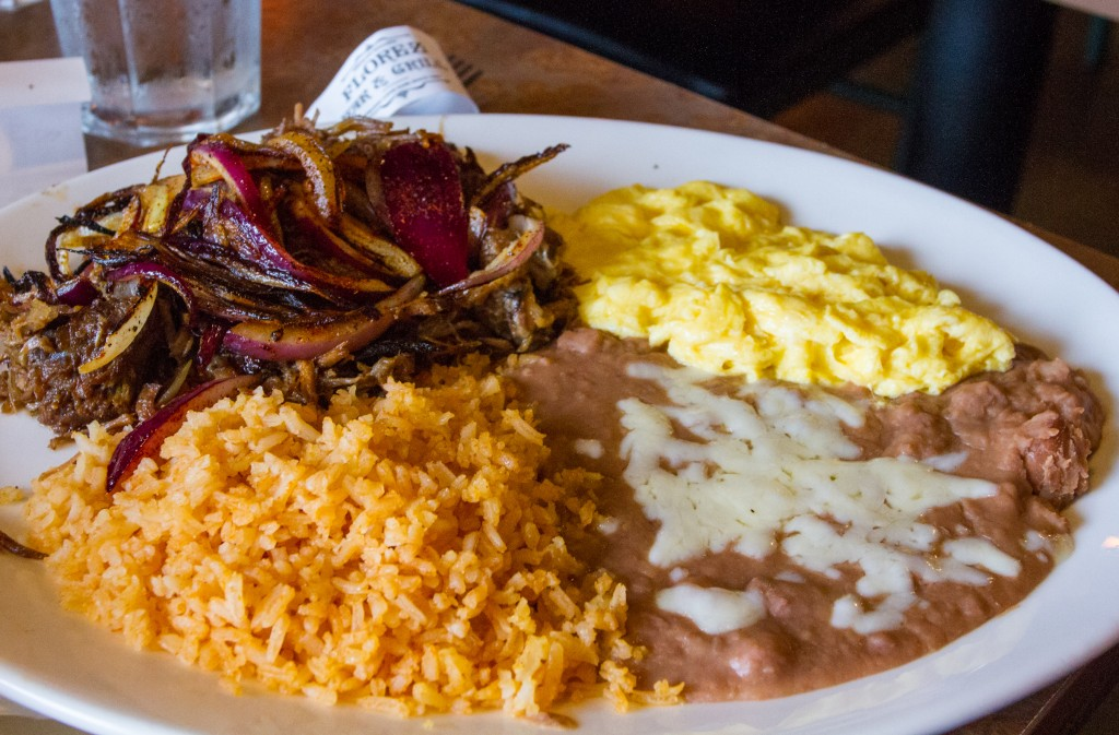 carnitas, eggs, rice and beans
